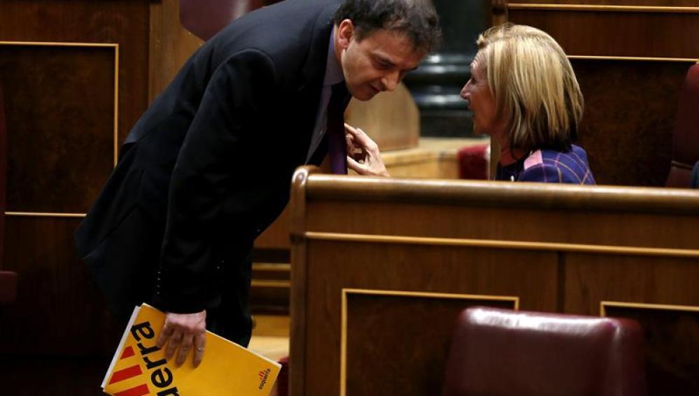 La líder de UPyD, Rosa Díez, conversa con el portavoz de ERC en el Congreso, Alfred Bosch