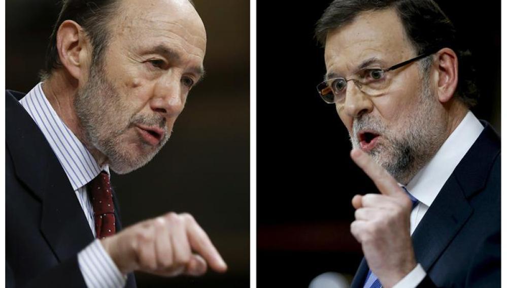 Rajoy y Rubalcaba en el debate