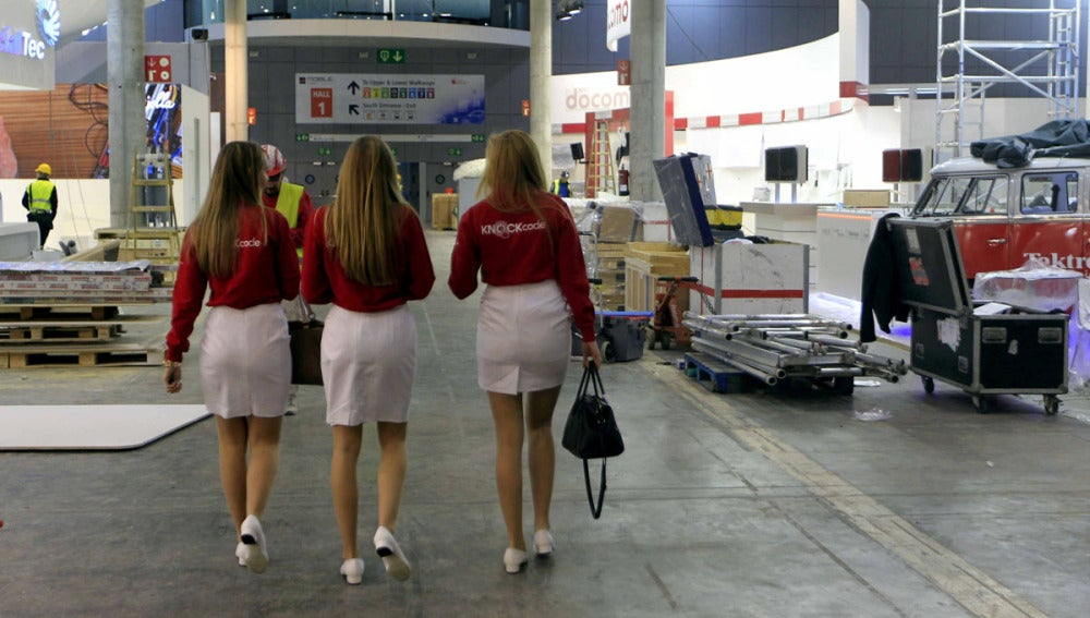 Trabajadoras del Mobile World Congress