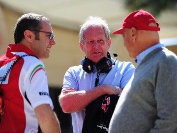 Marko, junto a Domenicali y Lauda