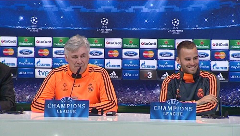 Ancelotti y Jesé en rueda de prensa