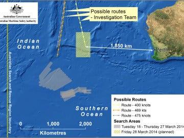 Mapa del área de búsqueda