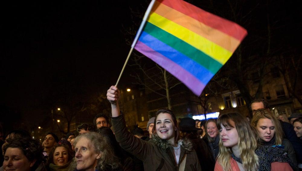 una muchedumbre iza la bandera gay