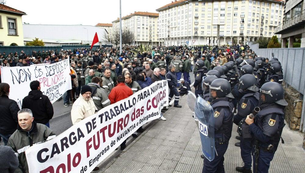 Manifestación de los astilleros ferrolanos