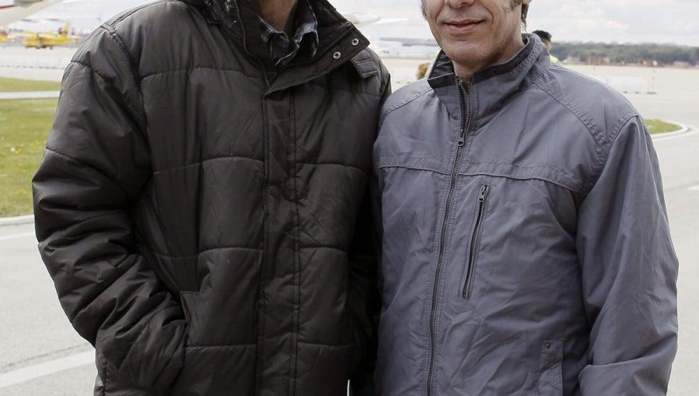 Javier Espinosa y Ricardo García, a su llegada a Madrid