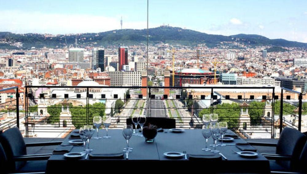 Las vistas desde el restaurante Óleum, en el Museo Nacional de Arte de Catalunya (MNAC).
