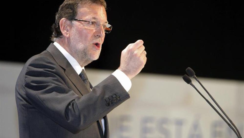 Mariano Rajoy, en un acto de campaña para las europeas