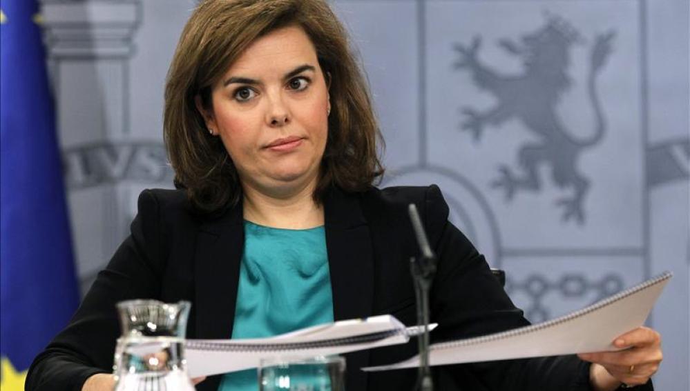 Soraya Saénz de Santamaría tras el Consejo de Ministros