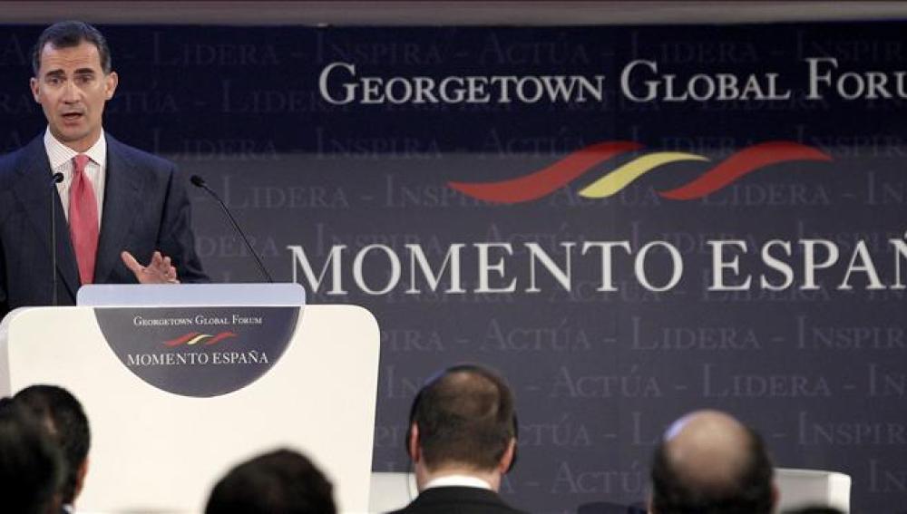 El Príncipe de Asturias, durante su intervención en la jornada 'Momento España'