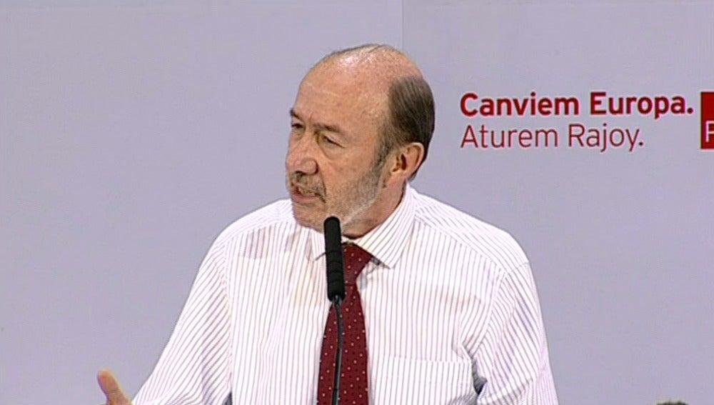 Alfredo Pérez Rubalcaba, en el acto electoral