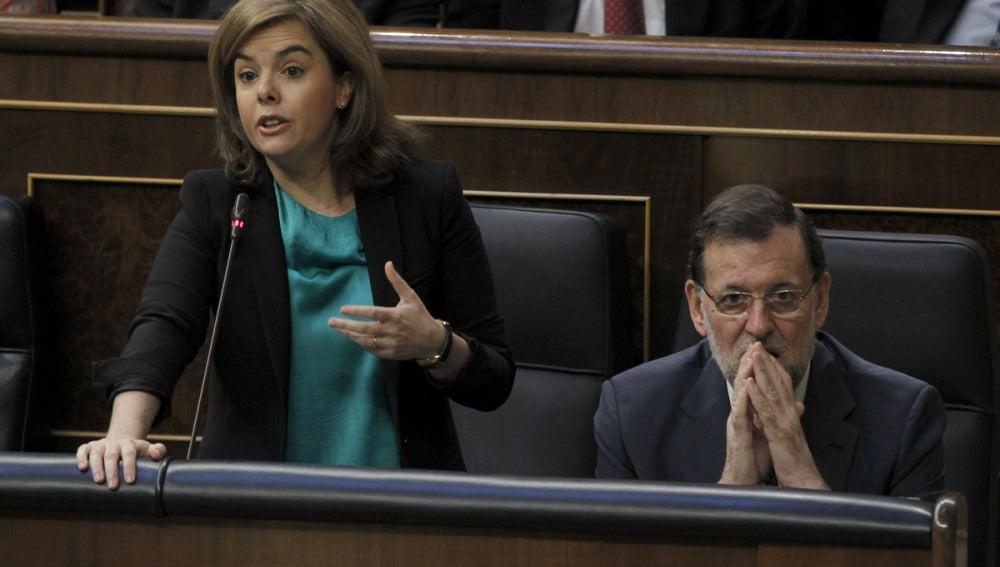 Santamaría y Rajoy en el Congreso