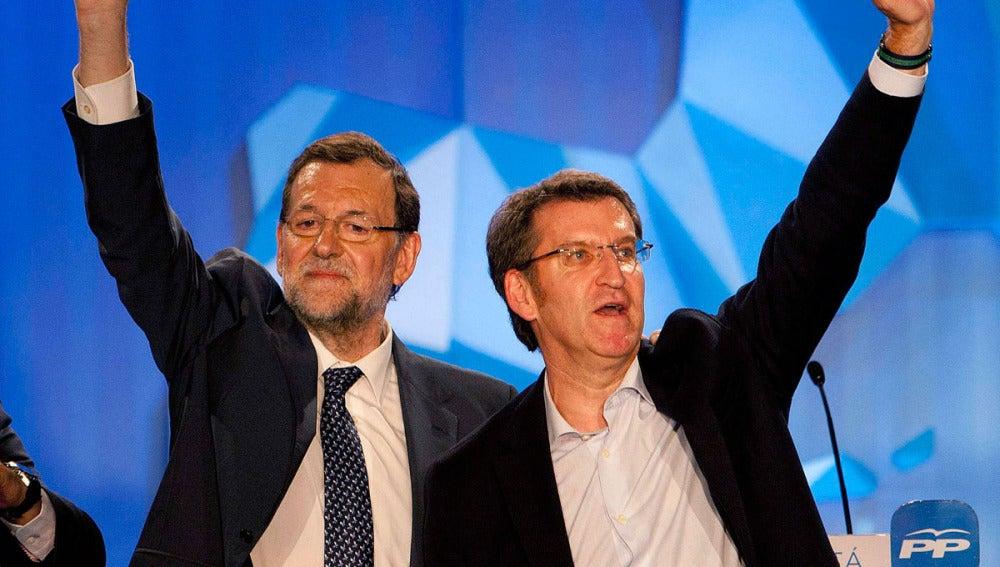 Mariano Rajoy junto a Núñez Feijóo