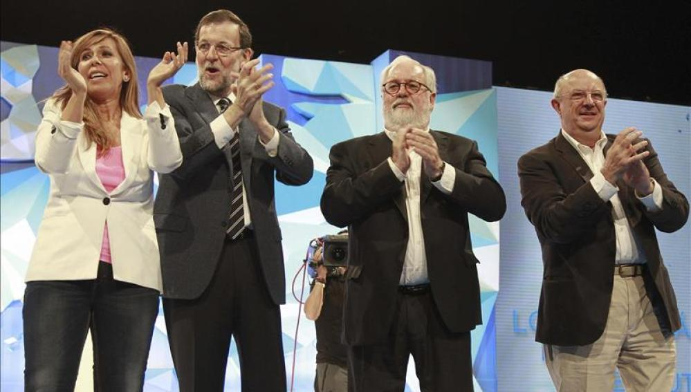 Mariano Rajoy, junto a Alicia Sánchez-Camacho y Miquel Árias Cañete