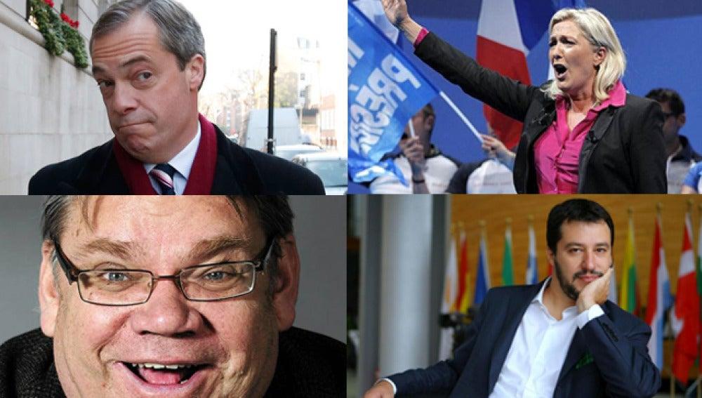 Nigel Farage, Marine Lepen, Timo Soini, Matteo Salvini