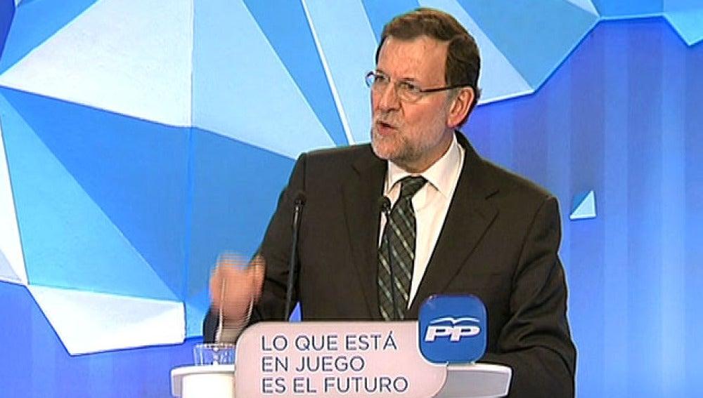 Mariano Rajoy, en un mitín en Valencia