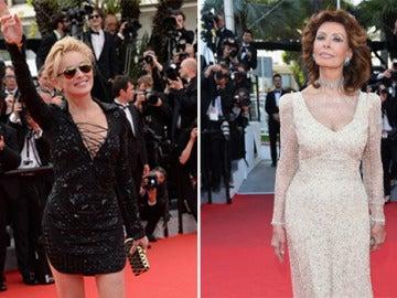 Sofia Loren y Sharon Stione deslumbran en Cannes