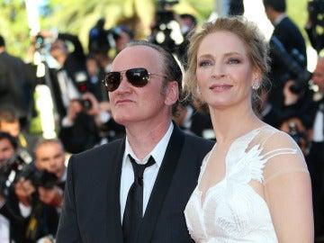 Uma Thurman y Quentin Tarantino en el Festival de Cannes 2014