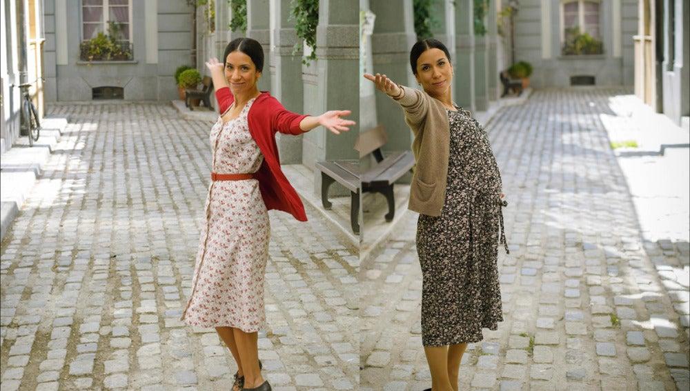Antes y después del embarazo de Itzíar Miranda, Manolita en la serie