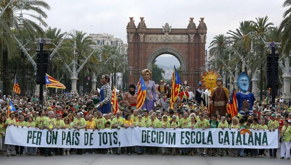 Marcha en Barcelona por la escuela en catalán