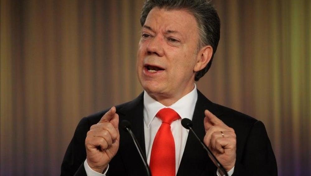 Juan Manuel Santos en una comparecencia pública.