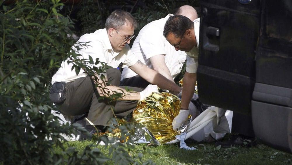 Los servicios funerarios retiran el cadáver de un hombre en el Retiro al que le ha caído una rama