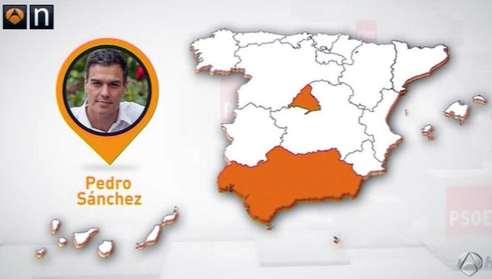 Mapa de los avales del PSOE