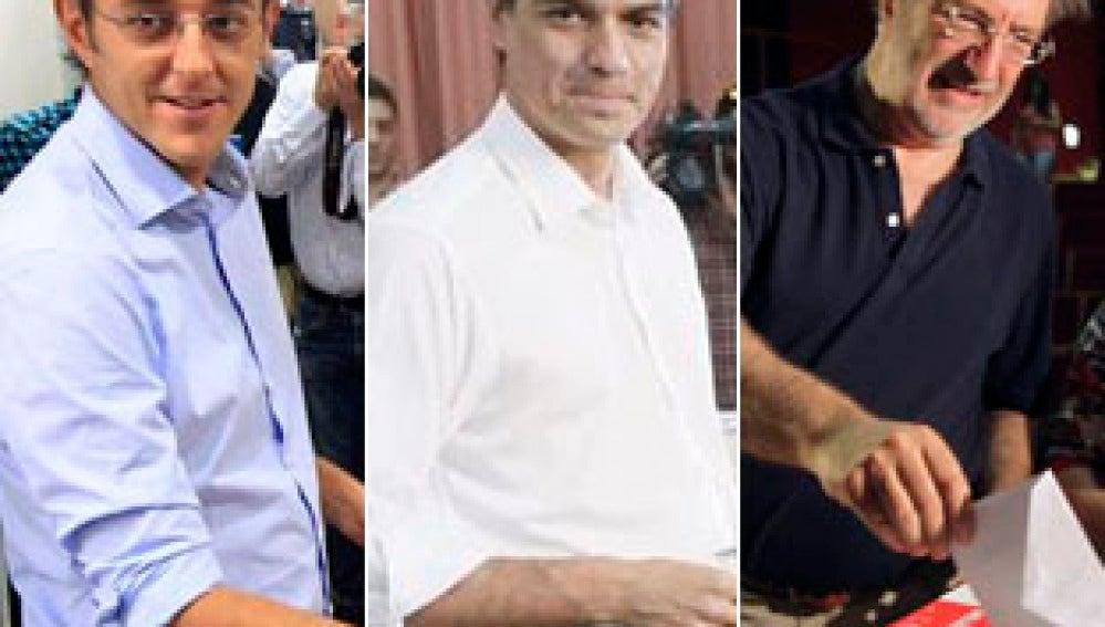 Los tres candidatos del PSOE votan