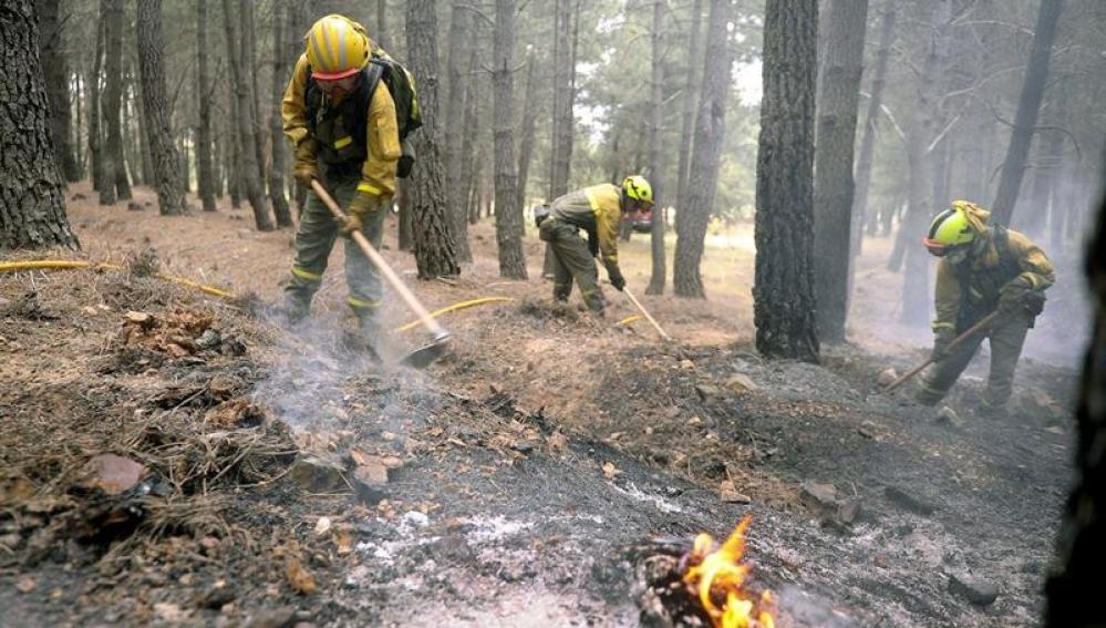Los bomberos trabajan en apagar los fuegos