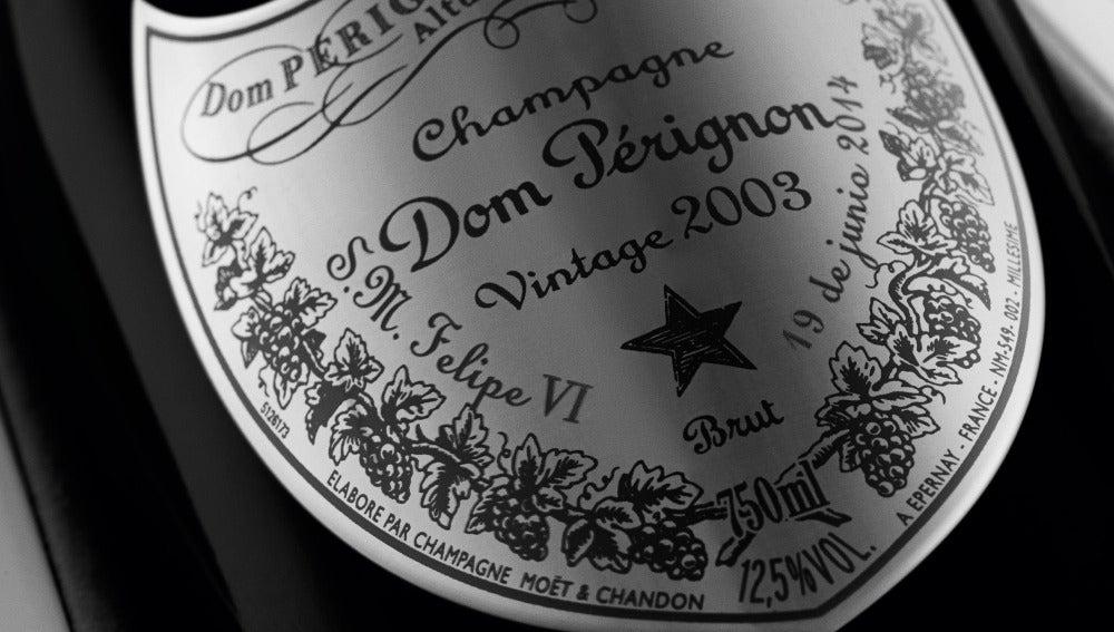 La nueva etiqueta de Dom Pérignon, dedicada a Felipe VI.