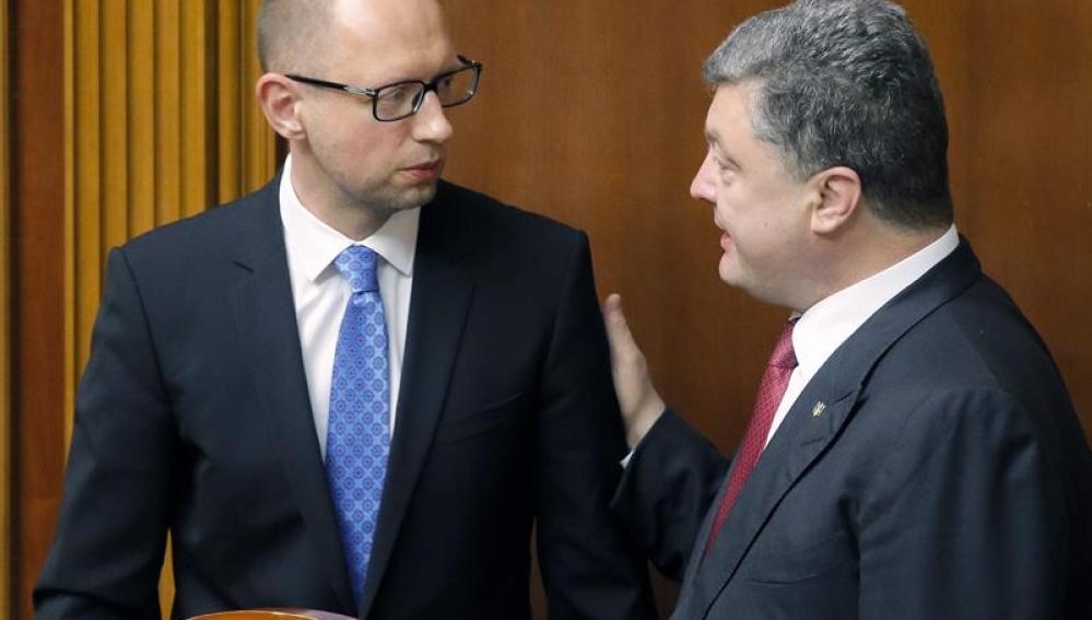 Yatseniuk y Poroshenko, primer ministro y Presidente de Ucrania