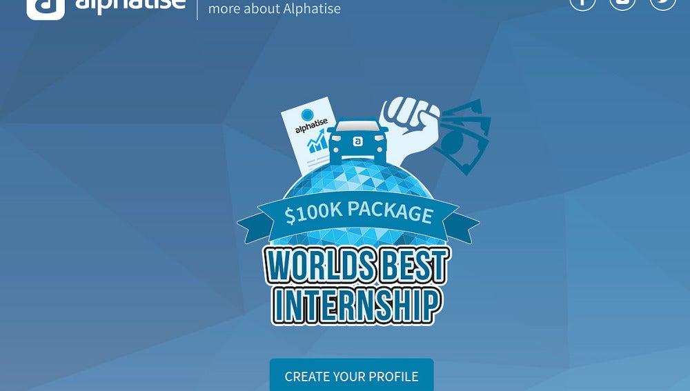 Concurso de la start-up, Alphatise, para ser le becario mejor pagado del mundo