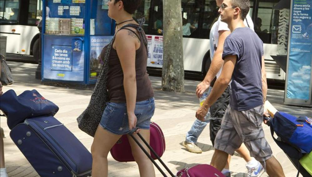 Turistas en la Barceloneta