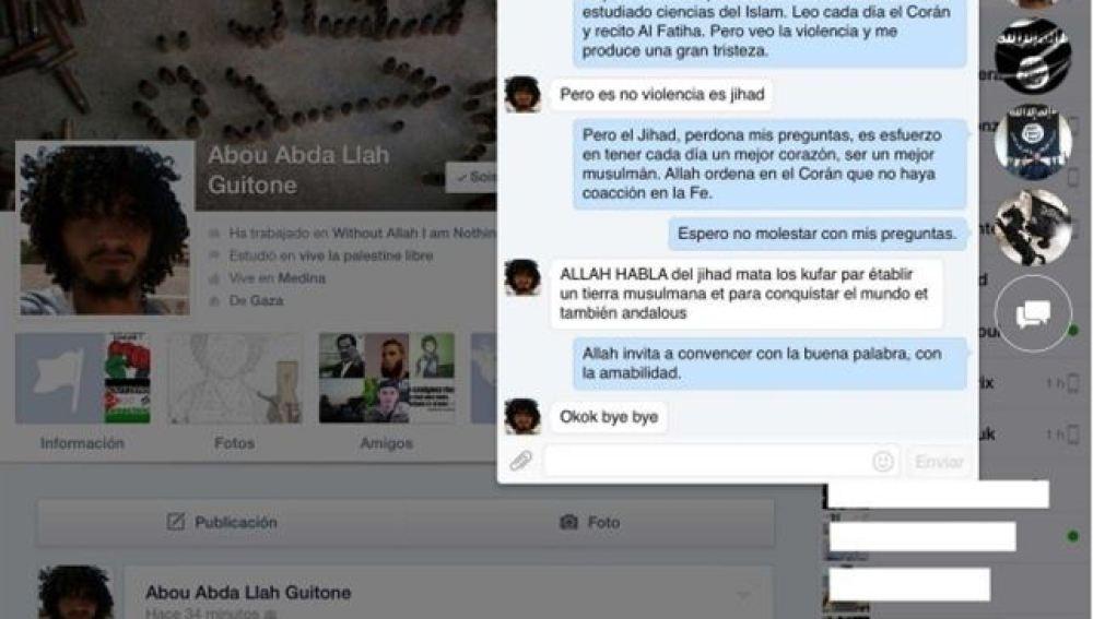 La conversación en Facebook del terrorista Abou Abda Llah Guitone
