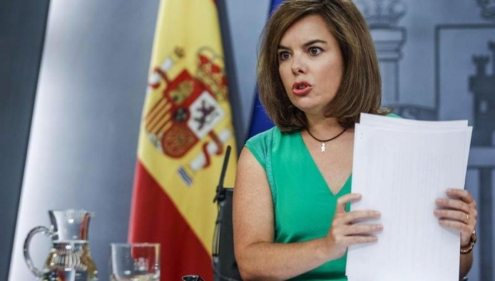 Soraya Sáenz de Santamaría en rueda de prensa.