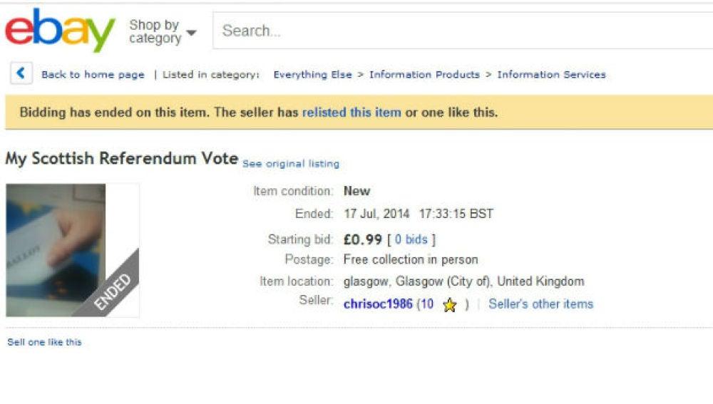 Voto escocés a la venta por eBay