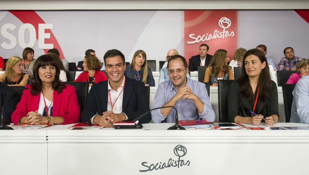 Sánchez, con Luena, Navarro y Montón