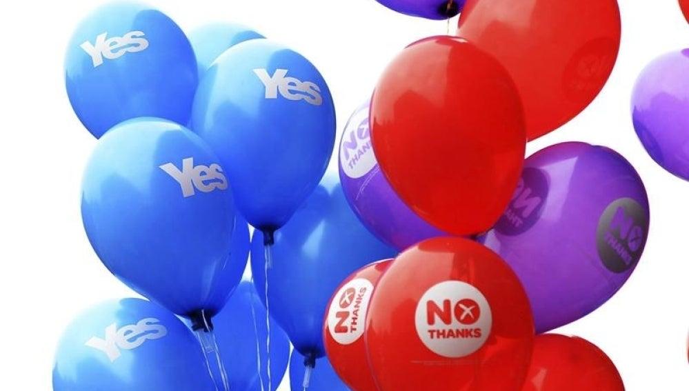 LaSexta Escocia - Globos a favor y en contra del referéndum