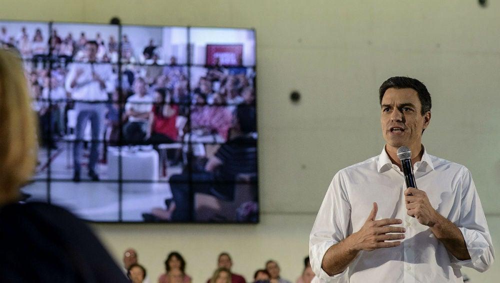 Pedro Sánchez, durante su intervención en la inauguración del ciclo de Asambleas Abiertas