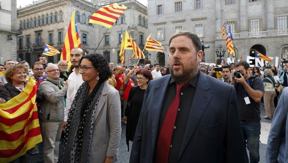 Los líderes de ERC Oriol Junqueras y Marta Rovira