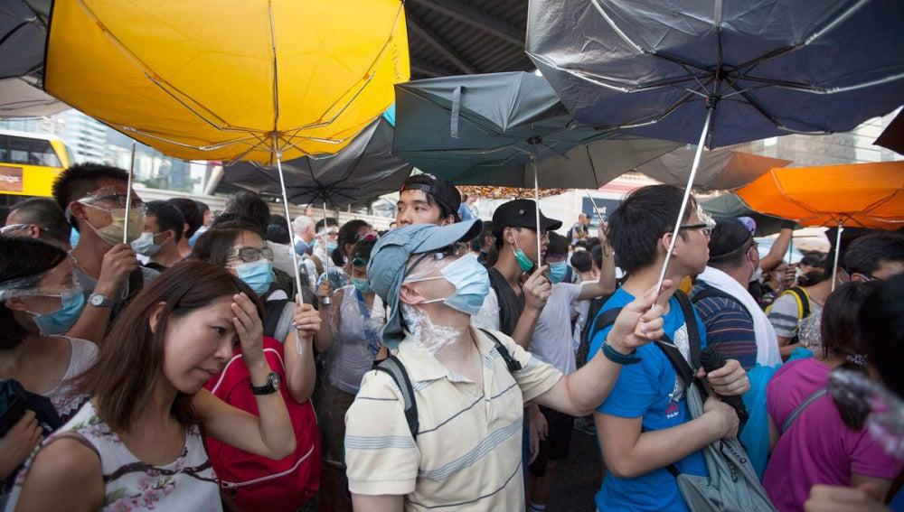 'La protesta del paraguas'