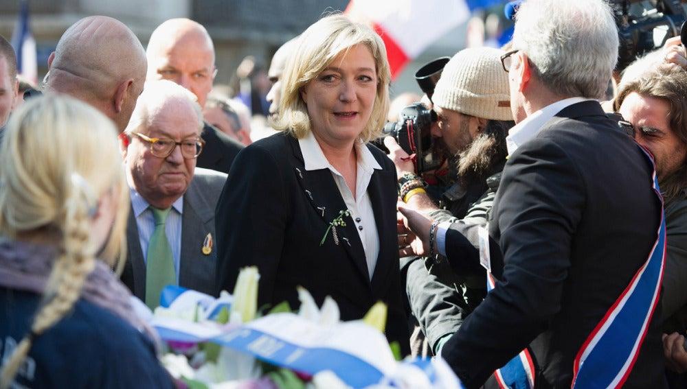 Marine Le Pen, en un acto en París