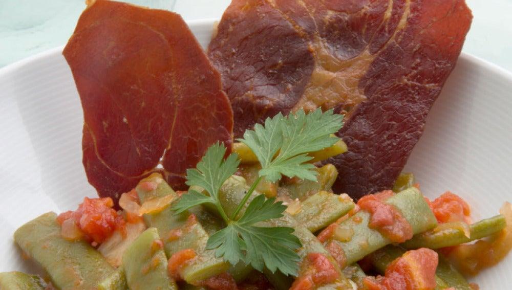 Judías verdes en sofrito de tomate