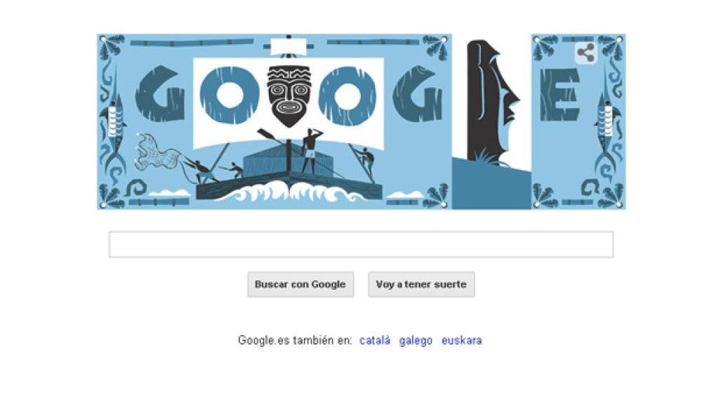 El 'doodle' de Google de Thor Heyerdahl.