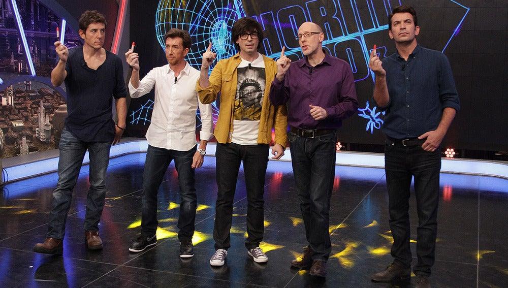 Manel Fuentes, Arturo Valls, Luis Piedrahita, Richard Wiseman y Pablo Motos en El Hormiguero 3.0