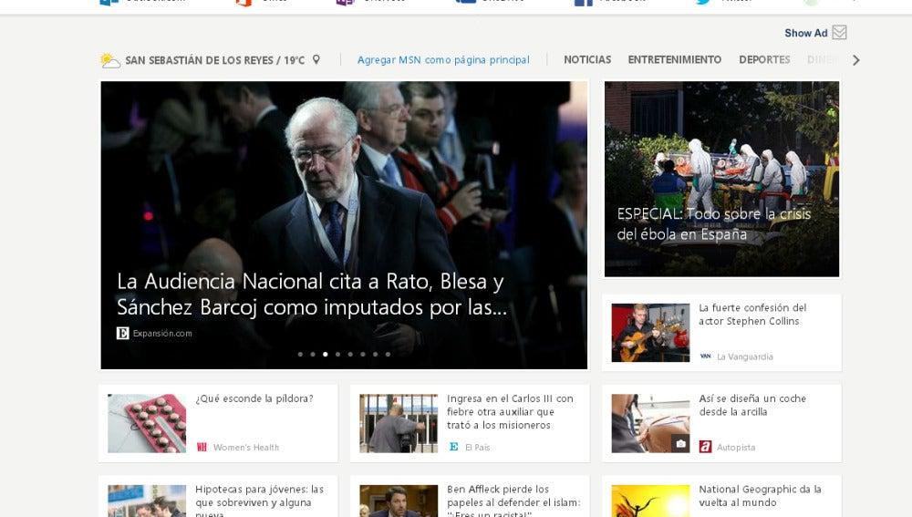 La nueva web de MSN