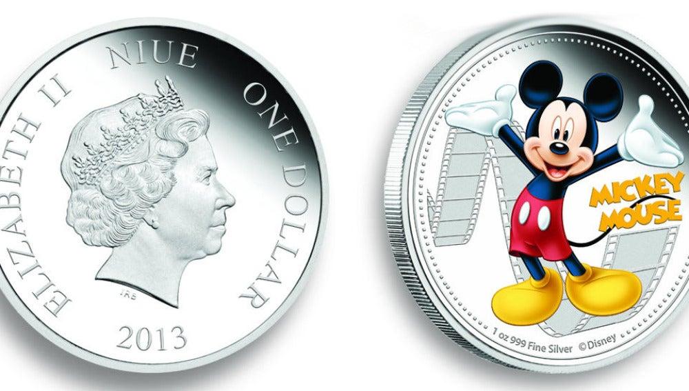 Cara y cruz de la moneda de Niue dedicada a Mickey Mouse