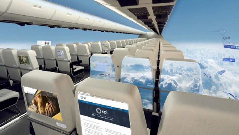 Imagen virtual del primer avión sin ventanas