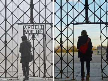 Dos imágenes de la puerta de Dachau antes y después del robo