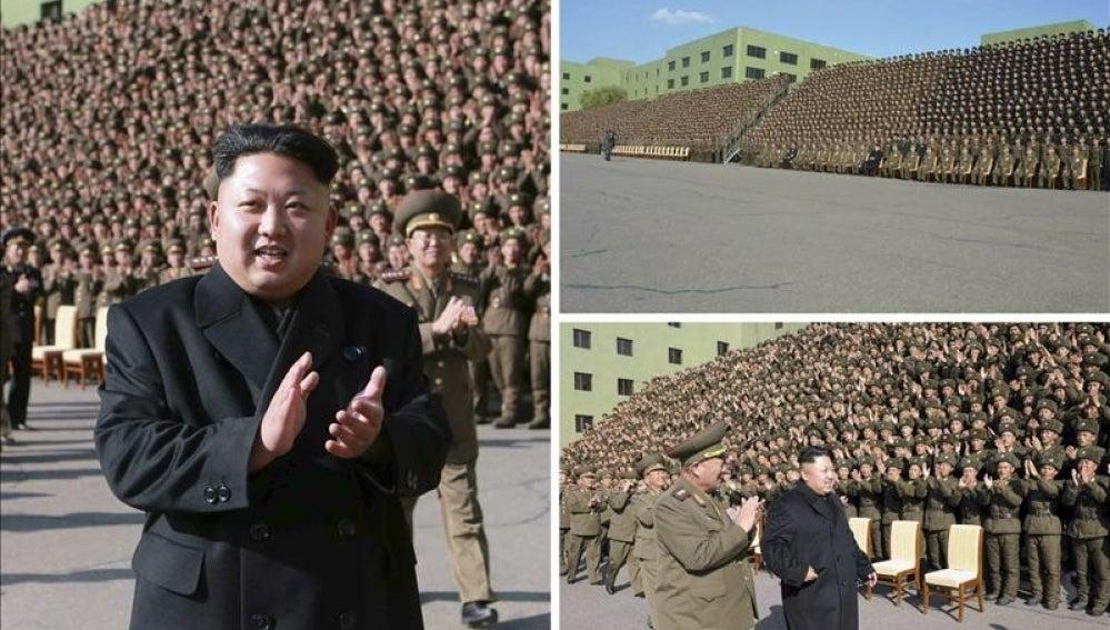 Kim Jong-un reaparece sin bastón junto a las tropas.
