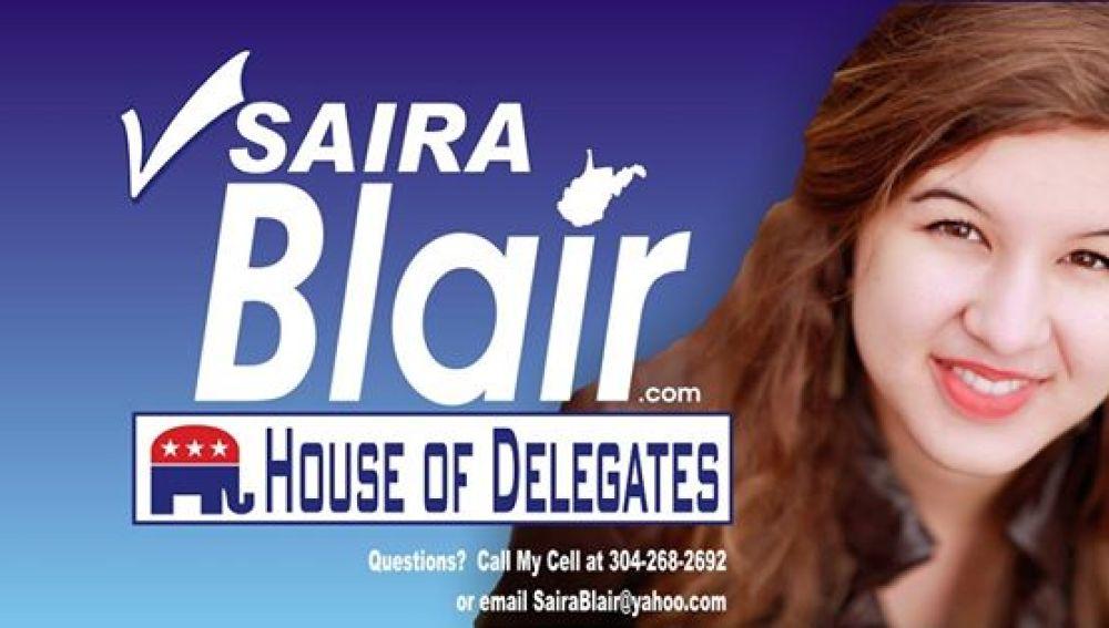 Saira Blair en un anuncio de campaña